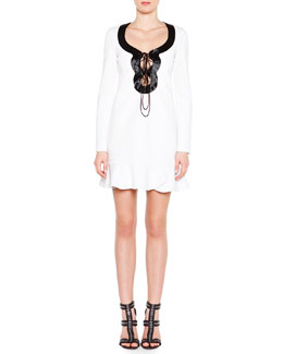 Emilio Pucci Beaded Lace-Up Dress with Flounce Hem