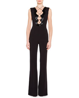 Emilio Pucci Beaded Lace-Up Keyhole Jumpsuit