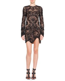 Emilio Pucci Bead-Embroidered Lace Illusion Dress