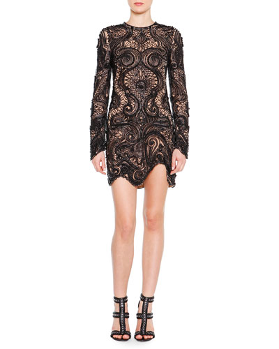 Bead-Embroidered Lace Illusion Dress