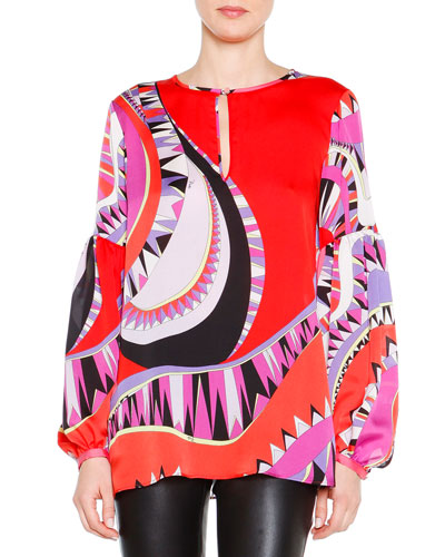 Geometric Wave-Print Bishop-Sleeve Blouse