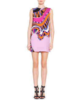 Emilio Pucci Sleeveless Wave-Print Tunic Dress
