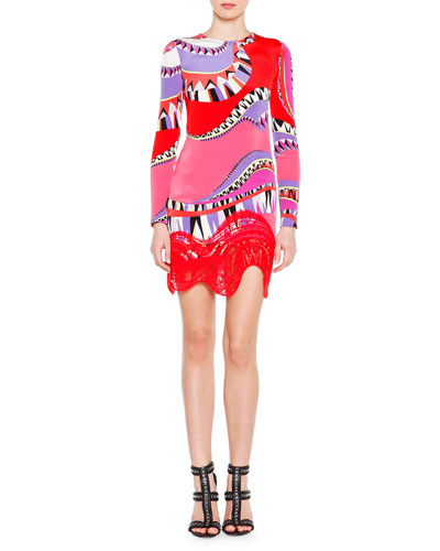 Long-Sleeve Kaleidoscope-Print Dress