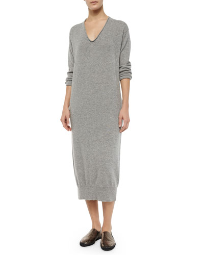 V-Neck Cashmere Sweaterdress