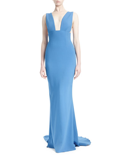 Kimberly Plunging Sleeveless Godet Gown, Bright Blue