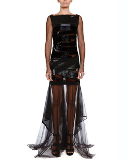 Emilio Pucci Crisscross Sequined Ruffle-Skirt Dress