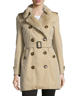 Burberry London Double-Breasted Trench Coat w/ Rabbit Fur Trim