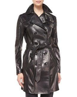 Burberry London Double-Breasted Leather Trenchcoat, Black