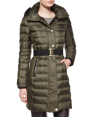 Fur-Trimmed Quilted Puffer Coat, Olive