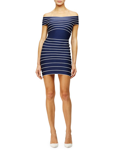 Off-the-Shoulder Striped Bandage Dress, Classic Blue