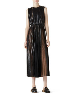 Gucci Laminate Tulle Plisse Dress