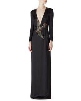 Gucci Satin Bird Embroidered Dress