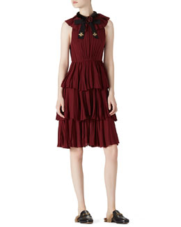 Gucci Sleeveless Ruffled Silk Dress