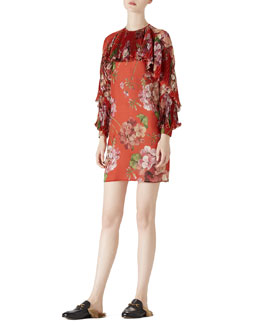 Gucci Geranium Print Silk Georgette Dress