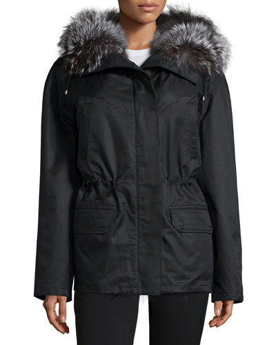 Fur-Trimmed Gabardine Short Parka Jacket, Black/Silver