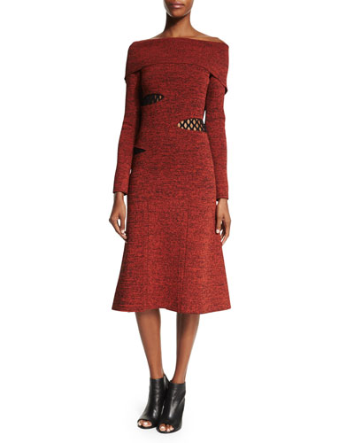 Off-the-Shoulder Slashed Midi Dress, Crimson