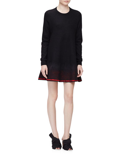 Needle-Punch Spray Hem Sweater Dress, Black/Red