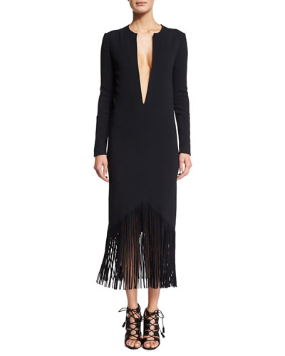 Plunging Long-Sleeve Fringed Cady Dress, Black