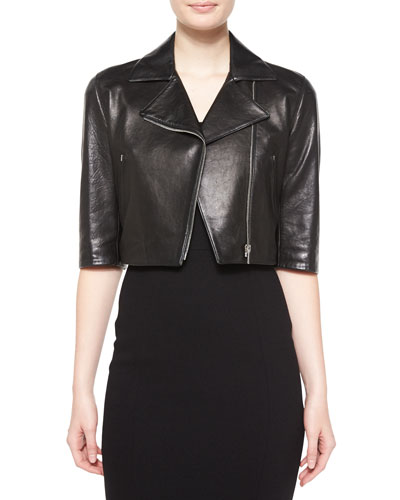 Half-Sleeve Crop Leather Jacket, Black