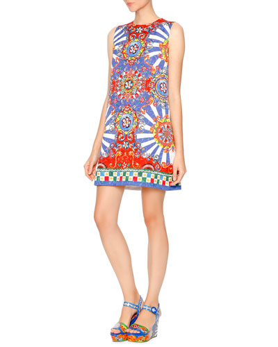 Sleeveless Carretto-Print Shift Dress, Red/Yellow/Blue