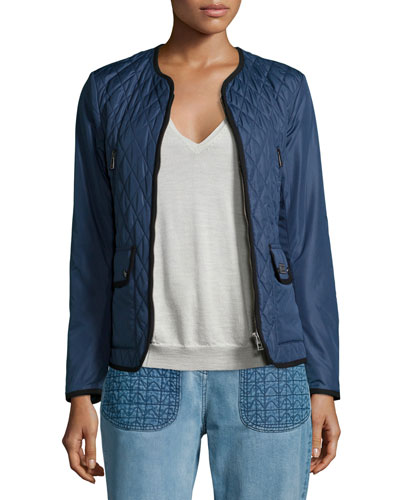 Quilted Tech-Fabric Jacket, Racing Blue