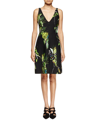 Sleeveless Floral-Print Sheath Dress, Black/Green/Chartreuse=