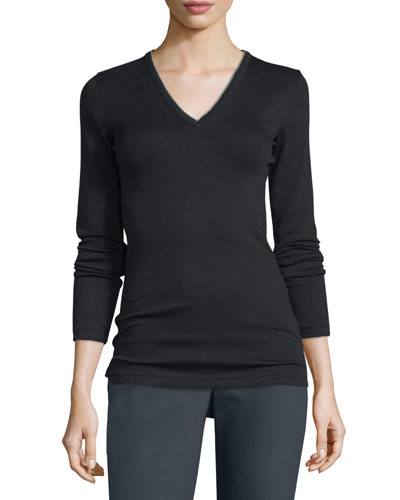 Long-Sleeve V-Neck Monili T-Shirt, Black
