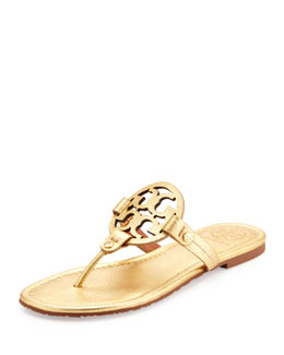 Tory Burch Tory Burch Miller Metallic Logo Thong Sandal, Gold