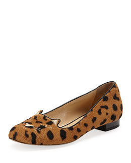 Charlotte Olympia Kitty Cat-Embroidered Calf Hair Slipper, Leopard