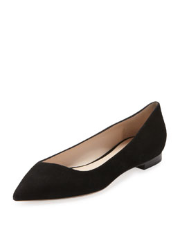 Giorgio Armani Suede Point-Toe Ballerina Flat, Black