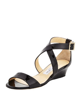 Jimmy Choo Chiara Demi-Wedge Crisscross Sandal, Black