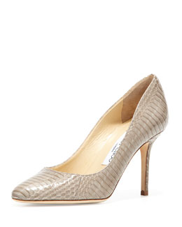 Jimmy Choo Gilbert Snakeskin Almond-Toe Pump