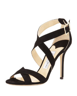 Jimmy Choo Lottie Suede Crisscross Sandal, Black