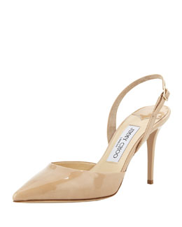 Jimmy Choo Tilly Patent Slingback Pump, Nude
