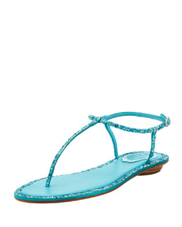 Rene Caovilla Crystal Flat Thong Sandal, Turquoise