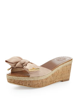 Tory Burch Penny Bow Wedge Slide, Camellia Pink