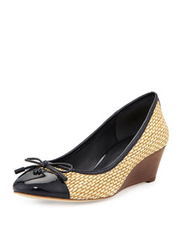 Tory Burch Catherine Cap-Toe Raffia Wedge, Navy