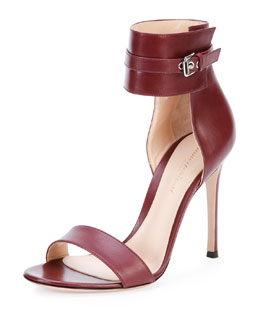 Gianvito Rossi Leather Ankle-Wrap Sandal, Burgundy