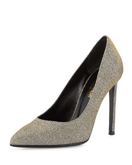 Saint Laurent Glittery Lamé Pointed-Toe Pump, Oro