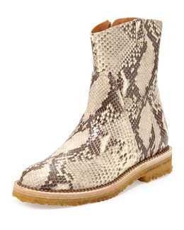 Maison Martin Margiela Python-Embossed Ankle Boot, Natural