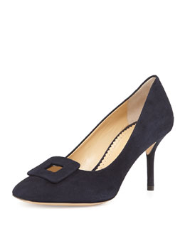 Charlotte Olympia Catherine Suede Buckle Pump
