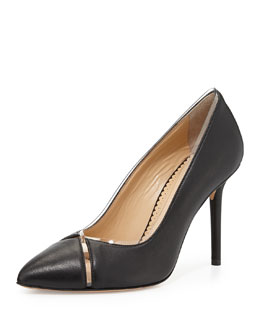 Charlotte Olympia Natalie Leather/PVC Point-Toe Pump