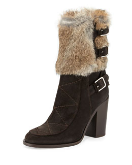 Laurence Dacade Merli Fur Triple-Buckle Boot, Beige/Brown