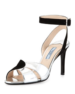 Prada Suede and Metallic Ankle-Wrap Sandal