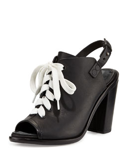 Rag & Bone Trafford Lace-Up Peep-Toe Bootie, Black