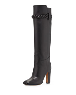 Valentino Calfskin Braided Strap Knee Boot, Black