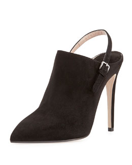 Miu Miu Suede Point-Toe Slingback Ankle Boot, Nero