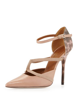 Malone Souliers Veronica Snake Ankle-Wrap Pump, Nude/Pink
