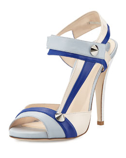 Fendi Asymmetric Leather Stud Sandal, Blue