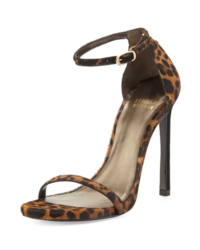 Nudist Calf Hair Ankle-Strap Sandal, Leopard
